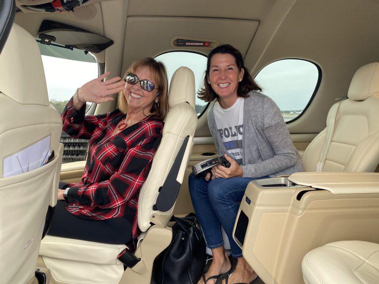 Carol and Janie Taking a Verijet Flight
